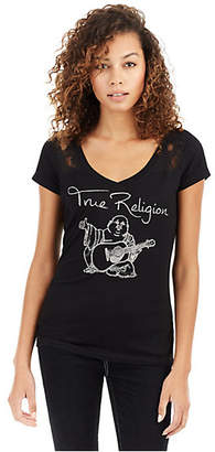 True Religion CRYSTAL BUDDHA PANEL ROUNDED V NECK WOMENS TEE
