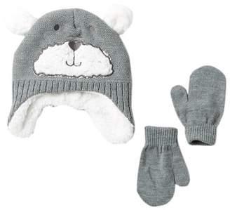 Little Me Reverse Knit Bear Hat & Mittens Set