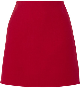 Theory - Irenah Saxton Stretch Wool-crepe Mini Skirt - Claret $295 thestylecure.com