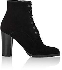 Barneys New York WOMEN'S LUG-SOLE SUEDE ANKLE BOOTS-BLACK SIZE 5