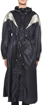 Isabel Marant Zip-Front Nylon Floor-Length Trench Coat