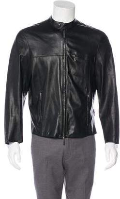 Versace Leather Cafe Racer Jacket