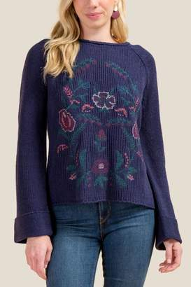 francesca's Tricia Floral Cross Stitch Sweater - Navy