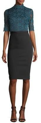 Catherine Deane Half-Sleeve Lace & Crepe Cocktail Dress