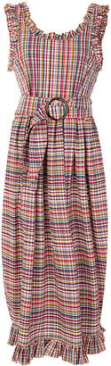 Isa Arfen ruffle trim checked dress
