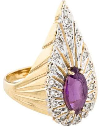 Erté 14K Amethyst & Diamond Peacock Ring