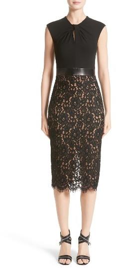MICHAEL Michael KorsWomen's Michael Kors Leather Trim Jersey & Lace Sheath Dress