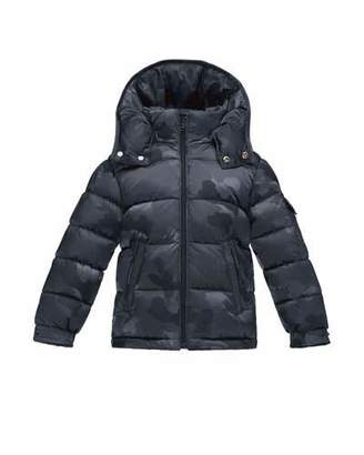 Moncler Maya Camo Puffer Coat, Navy, Size 4-6 $462 thestylecure.com