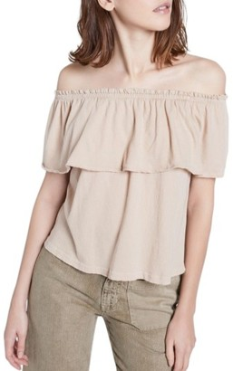 Women's Current/elliott The Ruffle Off The Shoulder Top $128 thestylecure.com
