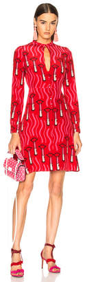 Valentino Chiffon Lipstick Waves Printed Mini Dress