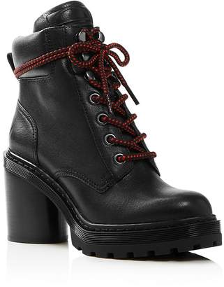 Marc Jacobs Women's Crosby Round Toe Leather Platform Hiking Boots