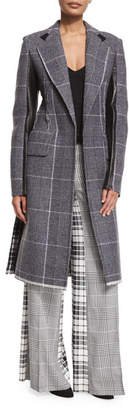 Calvin Klein Mixed-Plaid Wool Coat w/Leather Trim, Black