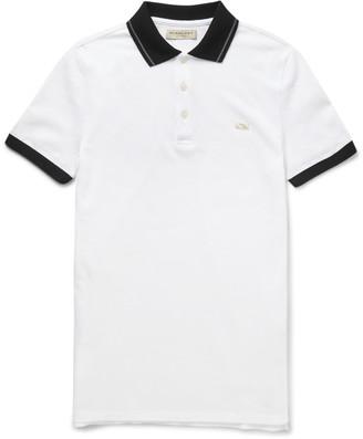 Burberry London Slim-Fit Two-Tone Cotton-Piqué Polo Shirt $295 thestylecure.com