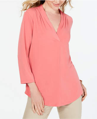 Charter Club Petite Pleat-Neck 3/4-Sleeve Top