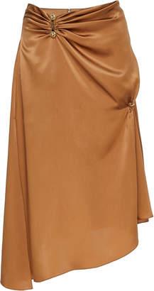 Versace Asymmetric Silk Knee-Length Skirt