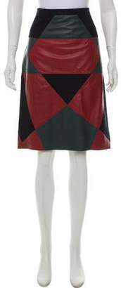 Derek Lam Leather and Suede Patch Mini Skirt