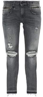 R 13 Biker Boy Distressed Mid-Rise Slim-Leg Jeans