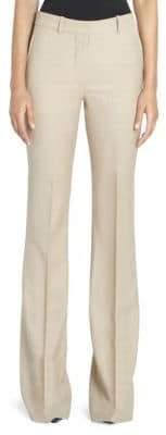 Victoria Beckham Women's Wool High-Waist Flared Leg Trousers - Light Beige - Size UK 12 (8)