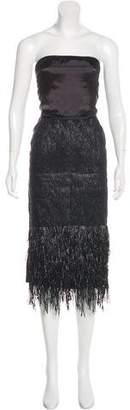 Reed Krakoff Fringe-Trimmed Strapless Midi Dress