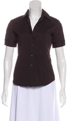 Theory Short Sleeve Button-Up Blouse