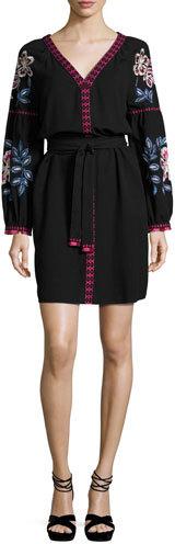 Tory BurchTory Burch Theresa Embroidered Tunic Dress, Black