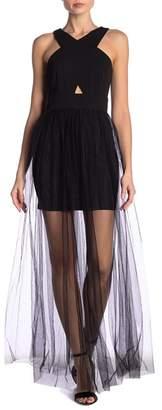 AAKAA Sheer Mesh Maxi Dress