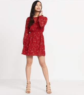 Dynamite Smock Fit-And-Flare Dress RED FLORAL