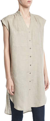 Shanty Tellaro V-Neck Button-Front Linen Tunic Top