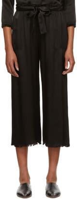 Raquel Allegra Black Satin Paper Bag Lounge Pants
