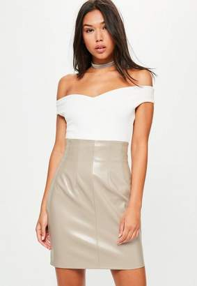 Missguided Grey Super Highwaisted Faux Leather Mini Skirt