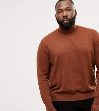 Burton Menswear Big & Tall Roll Neck Jumper In Caramel