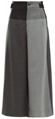 Issey Miyake Colour Block Wool Twill Trousers - Womens - Grey