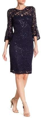 Marina Sequin Lace Bell Sleeve Short Dress