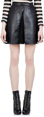 Saint Laurent Women's Leather & Lace Pleated Skirt