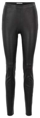 BOSS Hugo Skinny-fit pants in stretch lambskin side zipper 6 Black
