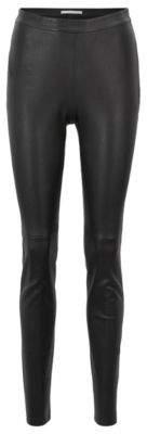 BOSS Hugo Skinny-fit pants in stretch lambskin side zipper 0 Black