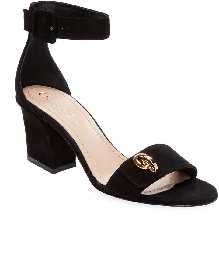 Dior Women's Suede Block Heel Sandal