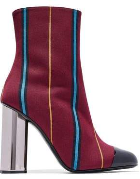 Marco De Vincenzo Patent Leather-Trimmed Striped Jacquard Ankle Boots