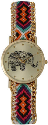 OLIVIA PRATT Olivia Pratt Orange Braided Elephant Print Dial Strap Watch 14811