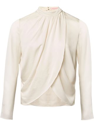 Ivory White Silk Wrap Over Blouse