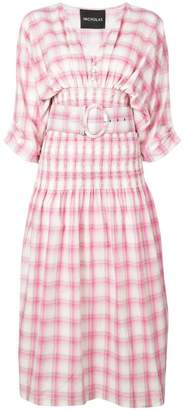 Nicholas smocked panel dress