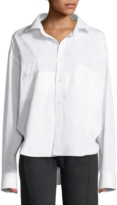 Vetements Long-Sleeve Button-Front Cotton Shirt w/ High-Low Hem