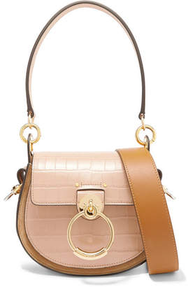 Chloé Tess Small Croc-effect Leather And Suede Shoulder Bag - Beige