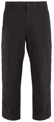 Alexander Mcqueen - Mid Rise Wide Leg Cotton Chino Trousers - Mens - Black