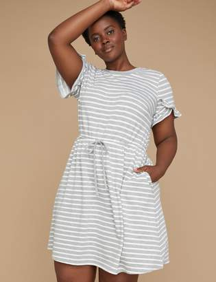 Striped French Terry Fit & Flare Dress