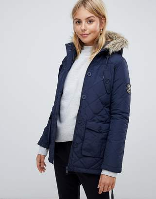 Brave Soul padded parka with faux fur trim hood