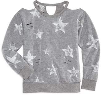 Flowers by Zoe Girls' Distressed Star-Print Sweatshirt - Big Kid