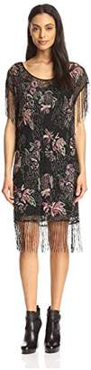 Haute Hippie Women's Floral Beaded Flapper Dress,M