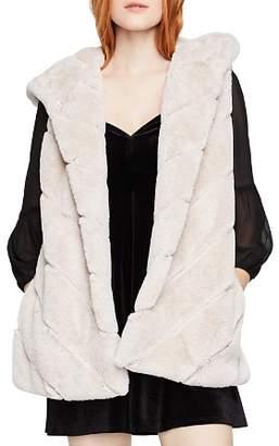 BCBGeneration Chevron Faux Fur Hooded Vest