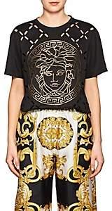 Versace Women's Logo Cutout Cotton T-Shirt-Black